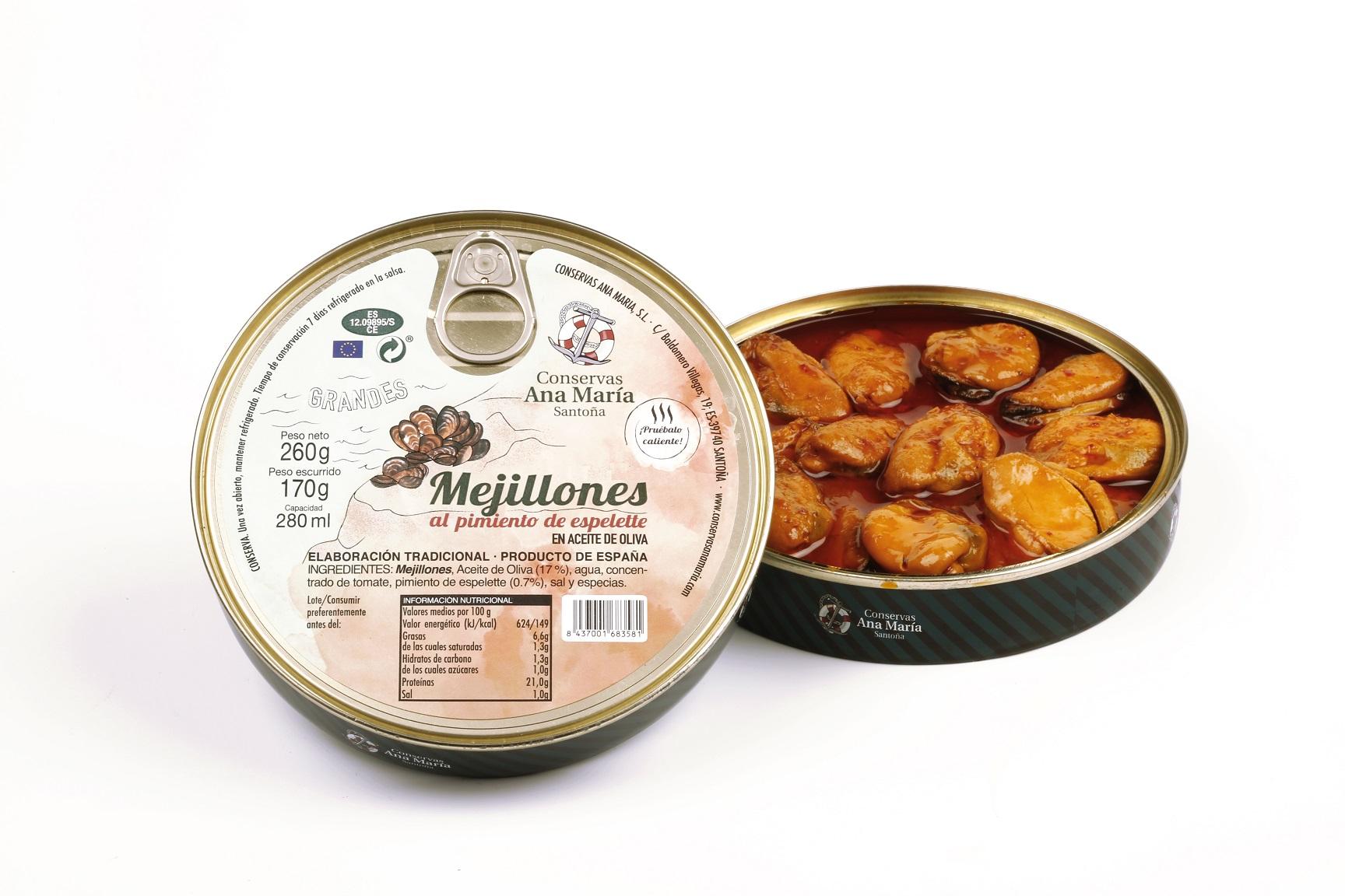 PA MEJILLONES EN SALSA DE PIMIENTO DE ESPELETTE 280 ml.