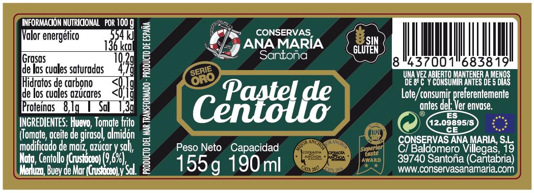 TARRO PASTEL DE CENTOLLO 190 ml.